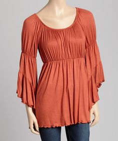 Take a look at this Pumpkin Bell-Sleeve Peasant Top on zulily today!