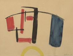 Jean HELION (1904-1987)  Equilibre, 1933  Aquarelle et encre de Chine sur papier  Signée et datée en bas à droite : Hélion 33  20,7 x 26,8 cm    Provenance :  vente Calmels Cohen, 5 déc.2005.  Madame Jacqueline Hélion a confirmé l'authenticité de l'œuvre.