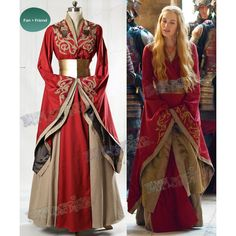 Game of Thrones (TV Series) Cosplay, Cersei Lannister Gown Corset... ($450) ❤ liked on Polyvore featuring costumes, cosplay costumes, cosplay halloween costumes, red halloween costumes, role play costumes and red costume