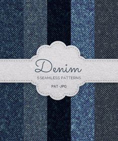 5 Seamless Denim Patterns - Textures / Fills / #Patterns #Photoshop