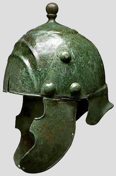 La Tène helmet, note the knots on the side, sometimes opening are found, which might have had 'organic' material attached (f.i. feathers).