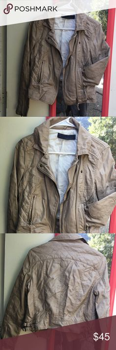 Biker Jacket Women Motto Jacket in Tan/Light Brown.  Faux Leather.  Almost new, worn a couple times. Padded shoulders. Biker style. Edgy. Zara Basic. Size S. Zara Jackets & Coats