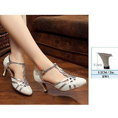 YFF Frauen tanzen Schuhe modernes Latein Tango Mid High Heels Größe 33-43, EW 2 Gold, 9,5