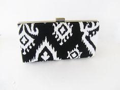 #bohochic #bohemian #ikatfashion clutch purse black and white clutch by VincentVdesigns, $54.00