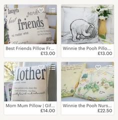 Favourites from The Sewing Croft on Etsy. Classic Winnie the Pooh illustrations on beautiful timeless pillows for Winnie the Pooh nursery. Mother pillow with funny and thankful quote for moms. Friendship quotes. Pillow for friends.