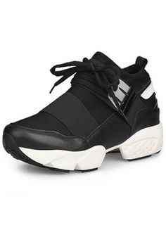 Clocked-Blocked Lace Up Platform PU Sneakers
