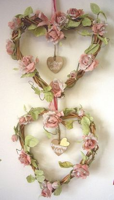 Pretty little floral double-heart wreath - can be adapted to single heart or a string - any words desired on dangle (love, dream, inspire? - on copper tags) - would be very at-home in cottage decor - posted by Inspiration Lane