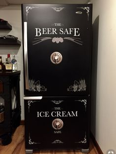 Beer Safe - Ice Cream Safe Refrigerator Wrap - ideas for your man cave at home or get away home. Man Cave Basement, Man Cave Garage, Garage Bar, Garage Signs, Basement Stairs, Basement Flooring, Bathroom Flooring, Man Cave Fridges, Man Cave Beer Fridge