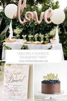 Creating A Romantic Engagement Party – www.creationsbysa… Creating A Romantic Engagement Party – www. Cocktail Engagement Party, Backyard Engagement Parties, Engagement Party Planning, Engagement Party Dresses, Engagement Party Decorations, Engagement Party Invitations, Engagement Party Cakes, Backyard Parties, Table Decorations
