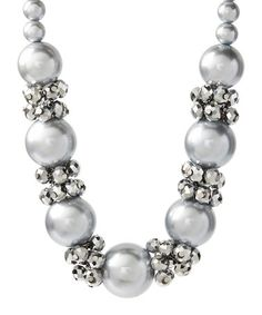 Loving this Gray Crystal & Bead Cluster Necklace on #zulily! #zulilyfinds
