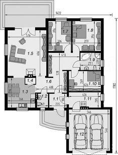 Projekt domu DJ 031 125,68 m2 - koszt budowy - EXTRADOM Planer, House Plans, Floor Plans, House Design, Flooring, How To Plan, Dj, Swiming Pool, Dream House Plans