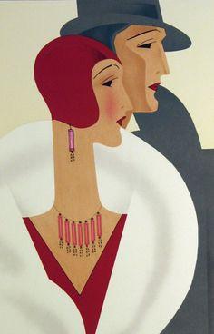 Art Deco Couple, Lithograph, 1920s.