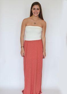 Coral Maxi Skirt $48
