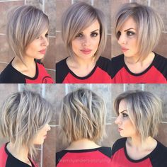 This gallery of trendy, short bob haircuts includes amazing long-to-short makeover cuts to liven up Balayage Straight Hair, Short Straight Hair, Balayage Hair, Short Hair Cuts, Short Hair Styles, Bob Haircut For Girls, Short Bob Haircuts, Girl Haircuts, Haircut Short