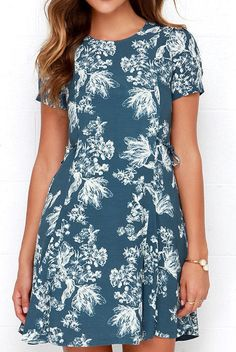MOdcloth Black Swan Melrose Slate Blue Floral Print Dress NWT Size M #Blackswan #fitandflare #FormalCasulanyoccasion