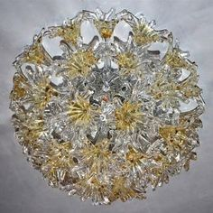 EXTREMELY-RARE-FLUSH-MOUNTED-60s-VENINI-ESPRIT-CRYSTAL-FLOWER-CHANDELIER
