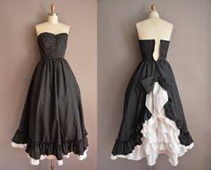 50s tuxedo strapless vintage party dress / vintage 1950s dress