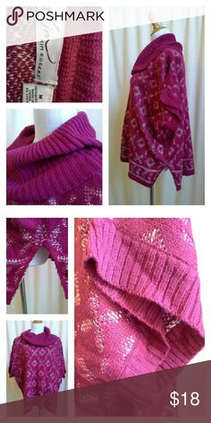 "KIM ROGERS Oversized Cowl Neck Sweater Perfect for those holiday gatherings, or sitting fireside with your fave book and mug of hot chocolate. Split hem bottom on both sides. Longer in back than front. Deep raspberry burgundy and white. Soft 100% acrylic. Repeating Aztec pattern. Approximately elbow length sleeves. Approx measurements laid flat: U-U 28.5"" across, opening at bottom 26"" across, overall length from shoulder seam 26"" front / 28"" back, cowl neck total length 12"". Kim Rogers…"