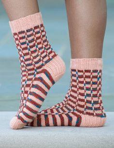 Syncopated Stripe Socks (Cuff Down)