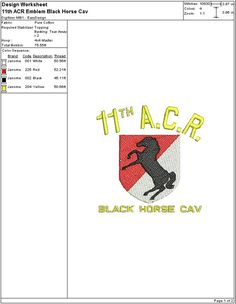 Embroidery Digital File 11th ACR Black Horse Cav by DixieCharmm