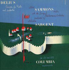 Sammons/Sargent-Liverpool Philharmonic Orchestra-Delius/Concerto For Violin and Orchestra. Record Art, Album Cover Design, Columbia Records, Classical Music, Orchestra, Violin, Album Covers, Illustrators, Nostalgia