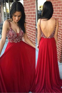 2c16acc836e Sexy Red Chiffon Beaded Rhinestone Prom Dresses A-line Backless Deep V Neck  Formal Party Dress sold by Beauty Shop more products from Beauty on Storenvy