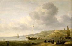Charles Brooking (1723-1759). Het strand van Scheveningen. Scheveningen lag in het begin van de 18e eeuw nog in een woest duinlandschap. Het strandgezicht is waarschijnlijk rond 1750 geschilderd. Het is niet duidelijk of Charles Brooking in Scheveningen is geweest of, dat hij zich heeft laten inspireren door de Nederlandse schilders van zeegezichten zoals Willem van de Velde de Oude en de Jonge, die aan het eind van de 17e eeuw in Londen woonden. (Coll. Royal Museums, Greenwich, UK)