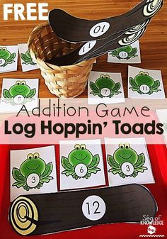 Addition Game Math Activity Kindergarten Log Hoppin' Toads - Sea of Knowledge Frog Activities, Kindergarten Math Activities, First Grade Activities, Teaching First Grade, 1st Grade Math, Fun Math, Math Games, Teaching Math, Preschool Activities
