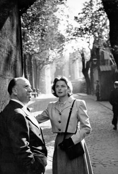 Ingrid Bergman and Alfred Hitchcock.
