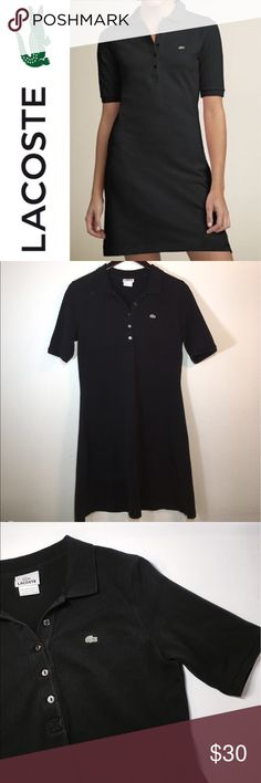 Lacoste Shirt Dress ✔️Cute Half Sleeves ✔️Size 40=US Size 8 ✔️94% Cotton/6% Elastane ✔️No Holes, Stains or Damages...Black has ever so slightly faded, but over all excellent price for this item! Lacoste Dresses