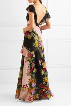 Etro - Ruffled Floral-print Crepe And Silk-chiffon Maxi Dress - Pink