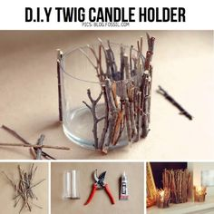DIY twig candle holder, for that chalet feelDIY Twig Candle Holder- Very Pretty And Creative - SalvabraniThese DIY twig candle holders are absolutely adorable and can be used in almost any theme if you know how to play it up right. Rustic Candle Holders, Rustic Candles, Diy Candles, Driftwood Candle Holders, Driftwood Lamp, Making Candles, Homemade Candles, Beeswax Candles, Diy Para A Casa