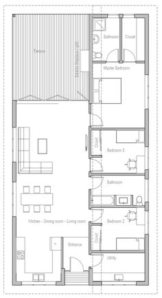 House Plans in Modern Architecture. One Level House Plans, Narrow Lot House Plans, Small House Floor Plans, Bungalow House Plans, Cabin Floor Plans, Dream House Plans, 3 Bedroom Home Floor Plans, Three Bedroom House Plan, Small Contemporary House Plans