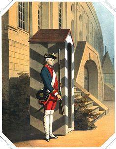 Preussischer Kadett von 1717 auf Wache vor dem alten Kadettenhaus in Berlin