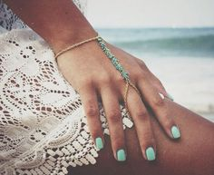 Gold Turquoise Hand Harness Chain Bracelet Gorgeous gold and turquoise hand chain harness. Brand new never worn. Ring with bracelet attached. Hand Jewelry, Boho Jewelry, Jewelry Accessories, Fashion Accessories, Fashion Jewelry, Jewlery, Beach Jewelry, Jewelry Bracelets, Tiffany Bracelets