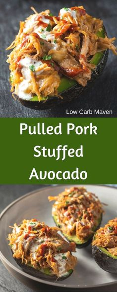 Pulled Pork Stuffed Avocado Boats are killer good! Pulled Pork Stuffed Avocado Boats are killer good! Pulled Pork Stuffed Avocado Boats are killer good! Keto Foods, Healthy Diet Recipes, Healthy Meal Prep, Healthy Nutrition, Low Carb Recipes, Healthy Eating, Cooking Recipes, Cooking Tips, Good Recipes
