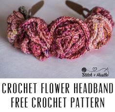 Crochet Flower Crown Free Pattern And Tutorial — Stitch & Hustle Knitting Patterns Free, Free Knitting, Free Pattern, Crochet Patterns, Knitted Flower Pattern, Knitted Flowers, Knitted Fabric, Ribbed Crochet, Free Crochet
