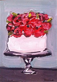 Cake Painting with Roses on Etsy, $40.00