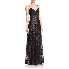 Sue Wong Embellished Empire-Waist Gown