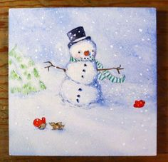 Painting lesson for a Finished snowman