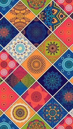 'Colorful Bohemian Mandala Patchwork Design' iPhone Case by stylebytara Cute Wallpapers, Wallpaper Backgrounds, Iphone Wallpaper, Attractive Wallpapers, Illustrator, Oriental Pattern, Patchwork Designs, Pretty Patterns, Fractal Art