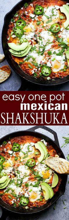 One Pot Mexican Shakshuka an easy dinner recipe made in 30 minutes only 206 calories a serving. Eggs baked in a spicy mexican inspired tomato sauce - it's egg-cellent Healthy Dinner Ideas for Delicious Night & Get A Health Deep Sleep Enchiladas, Mexican Food Recipes, Vegetarian Recipes, Cooking Recipes, Vegetarian Dish, Tofu Recipes, Healthy Mexican Food, One Pot Recipes, Real Mexican Food