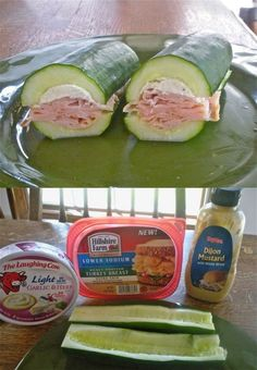 carbless meals carbless recipes snack Cucumber Subs No carbs but lots of crunch. Such a great idea! Im doin it! Read more in http://natureandhealth.net/