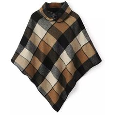 'Amanda' Peter Pan Collar Gingham Plaid Cape Poncho Goodnight Macaroon ($88) ❤ liked on Polyvore featuring outerwear, brown poncho, tartan poncho, plaid cape coat, poncho cape and tartan cape