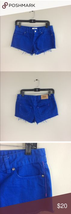 Victoria's Secret Pink Denim Shorts Like new! Just as vibrant in person. PINK Victoria's Secret Shorts Jean Shorts