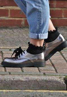 Retro NEW Silver Pewter Metallic Dr M's Style Lace Up Shoes