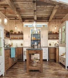 A beautiful mix of wood species and finishes add character to this unique rustic charmer. Wellborn Cabinets, Kitchen Board, Kitchen Floor Plans, Luxury Homes, Luxurious Homes, Cottage Farmhouse, Cabinet Colors, Wood Species, Kitchen And Bath