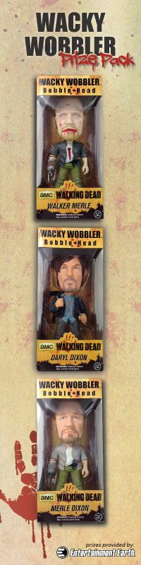 Our all-new The Walking Dead Wacky Wobbler Prize Pack Giveaway is here.  ONE lucky winner takes home 3 TWD Wacky Wobblers, courtesy of Entertainment Earth.