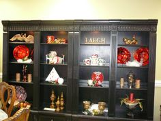 decorating bookcases for the holiday at the studio.