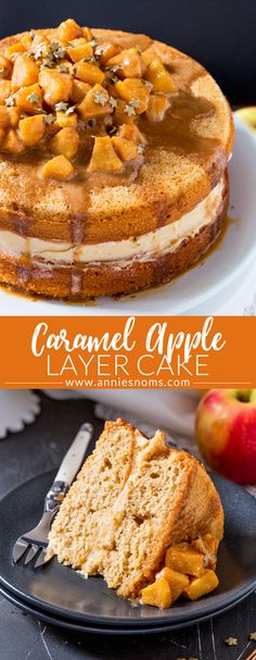 This Caramel Apple Layer Cake is Autumn in cake form! A lightly spiced cake, with sweet frosting and caramel apples piled high on top...